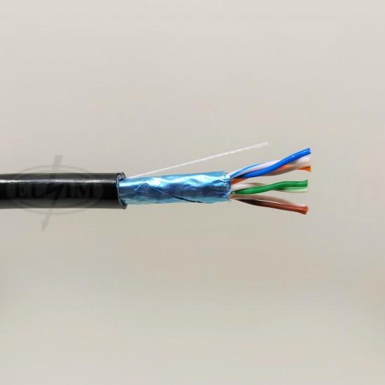 Kábel FTP-4P C 5 E O(4x2x0,5) VONKAJSY/čierny plné jadro
