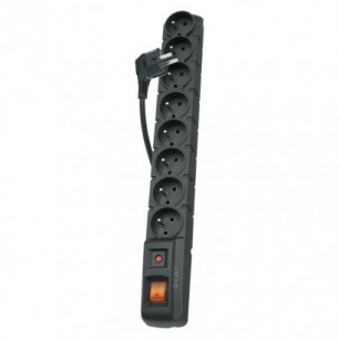 Predlžovačka s prepäťovou ochranou 1,5m-8z+vyp. (P53899) čierna