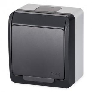 Zásuvka VDT 220V (5321-07) 1x IP44 antracit GALATEA