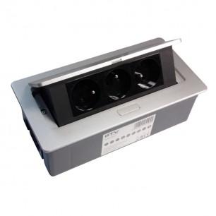 Zásuvka výklopná 3x230 (50093) GTV-PBCS strieborná