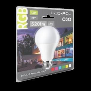 ORO-E27-A60-6,5W-RGBW + ovládač